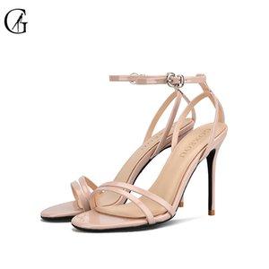GOXEOU Kadın Topuklu Sandalet Rugan Bilek Kayışı Stiletto Yüksek Topuklar Seksi Moda Parti Ofisi Bayan Ayakkabıları Size32-46