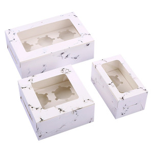 Padrão de mármore Transparente Janela Baking Box Redonda Cup Cake Box West Point Muffin caixas de embalagem do presente de casamento LX0557
