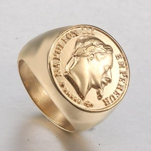 Classical 316L Stainless Steel Gold Ring Of Napoleon For Men Punk Style Viking Leader Ring Titanium Steel Fashion Ring