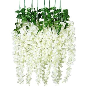24 Pack Artificial Wisteria Vine Fake Wisteria Hanging Garland Silk Long Hanging Bush Flowers String Home Party Wedding Decor