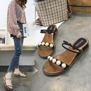 Fairy2019 Slope Pearl Sandals Eté Joker Avec Étudiant Slipper Femme Deux Vêtements Rome Plage Chaussures