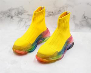 2020 triples S París para mujer para hombre botas calcetín velocidad de los zapatos corrientes verdes amarillos negros Speed Trainer calcetín Carrera Corredores diseñadores de zapatos deportivos