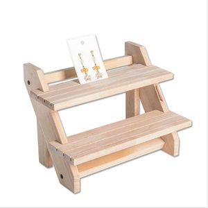 Detachable Wood 2 Layer Earrings Display Stand Jewelry Counter Display Props Storage Box