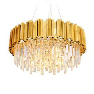 Lüks Kristal Avize Işık Altın Kristal Işıklandırma Cristal Lustres Armatür Yemek Salon Restoran Lambası için