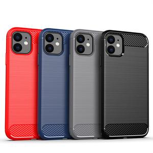 Углеродного волокна Матовый Мягкий чехол ТПУ для iPhone 12 Mini 11 Pro Max 6 7 8 Plus SE 2020 LG K51 Stylo6