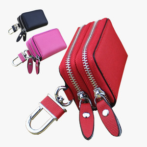 Free shipping High quality Famous new women men classic zipper folded key holder cover leather auto car key wallets luxury keychain with met