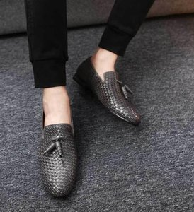 Men Woven Tassel Leather Shoes Fashion Casual Driving Oxfords Shoes Men Loafers Moccasins Shoes Plus Size 37-47