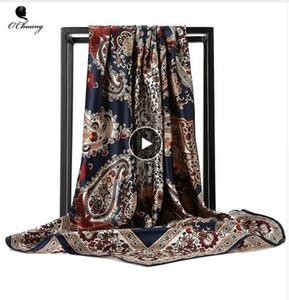 Seidenschal Mode Foulard Satin Schal Schals Große Größe 90 * 90 cm Platz seide Haar / Kopftücher Frauen bandana