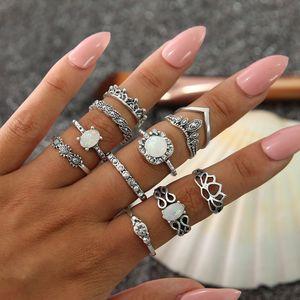 11 Pz / lotto boho ring set argento bianco gemstone wedding ring set Retro vintage hollow stile Boemia mix size lega gioielli anelli all'ingrosso