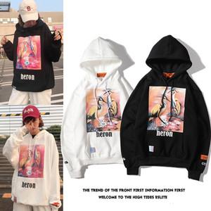 2020 noir chaud frêne blanc rouge-grue couronnée Heron Impression directe d'injection Hip Hop Hoodies hommes et les femmes Joker Hat Même lâche manteau veste