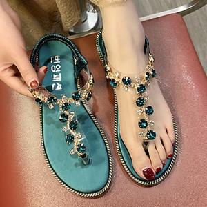 Kadınlar Thong Sandalet T-Tipi Açık Burun Yapay elmas Düz Tabanlı Roma Sandalet 2020 Yaz Flip-Flop Ayakkabı Zapatos De Mujer Sandalia