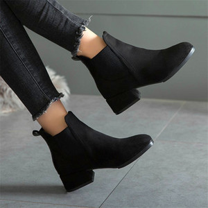 Women Autumn Winter Flock Ankle Boots Slip-on Round Toe 3.5cm Square Heel Solid Casual Black Camel Booties Size 35-41