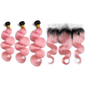 Dark Roots Ombre Розовые пучки волос на объемной волне с фронтальной # 1B / Pink Ombre Малайзийские плетения из человеческих волос