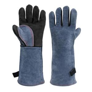 Guanti di protezione da lavoro resistente al calore Guanto barbecue con Blue Palm saldatori Spesso in pelle di mucca Split Kitchen Cucina