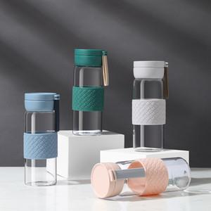 BearPaw Bouteilles d'eau en verre à boire directes applicables et portables avec corde Bouteille d'eau en verre respectueuse de l'environnement de bore