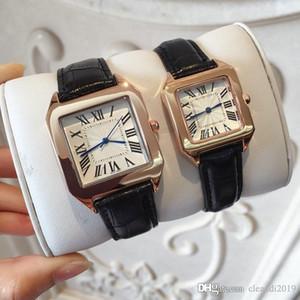 2019 Dropshipping Человек / Женщины Высокое качество Классический моды часы Кожа Часы черный / коричневый Lady WristWatch Luxury кварцевые часы стали бесплатно Box