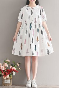 Big size belly covering Dress Age reducing fat sister summer dress 2020 new style relaxed and slim fashion printed skirt