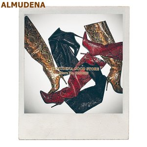 ALMUDENA Snakeskin Pleated Over-the-knee Boots Stiletto Heels Slouch Python Printed Thigh Boots Pointed Toe Gladiator Long Boots
