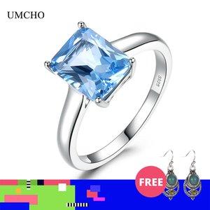 UMCHO Luxury Sky Blue Gemstone Топаз кольцо Твердые 925 серебряные обручальные кольца Sterling для женщин Подвески партии Fine Jewelry Женщины