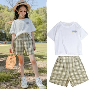 Kids Girls Summer Clothing Set New Fashion Children Short Sleeve Tops + Plaid Shorts 2 pcs Set Teenager Girls Outfits 5-14Yrs
