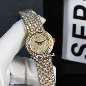 Neue 25mm Diamant-Schmuckuhren G0A38021 Gypsophila Dial Schweizer Quarz-Uhr der Frauen Gelbgold Diamant-Band-Damen-Mode Hello_Watch