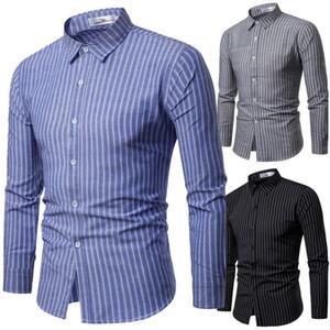 2020 Primavera di più nuovo modo di lusso del Mens maniche lunghe casuali dimagriscono vestito alla moda adatte camice a righe Top