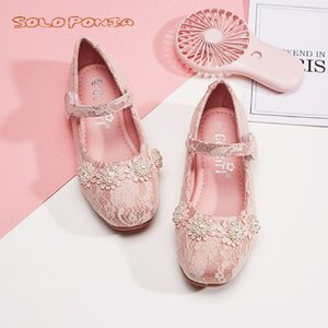 Flower Girls Shoes Spring Autumn Princess Lace PU Leather Shoes Cute Bowknot Rhinestone For 3-11 Ages Toddler 8889-A5