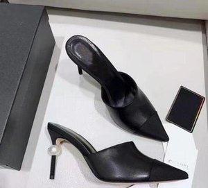 2019 Goatskin Grosgrain-Pumpen-echtes Leder-Perlen-Absatz-OL Kleid-Schuh-Dame Beige Weiß Schwarz Eins Schuhe Original-Box