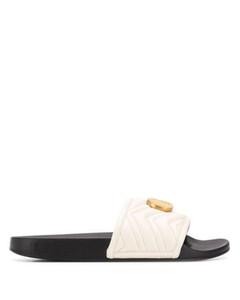2020SS mens womens Black White Logo-украшенные стеганые кожаные слайды сандалии плоские тапочки с полированными золотыми табличками логотипа