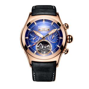 Reef Tiger / RT мужские часы розовое золото автоматические часы турбийон коричневый кожаный ремешок синий циферблат часы RGA7503