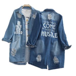 Ladies Denim Jackets Women Spring Turn Down Collar Hole Long Sleeve Casual Denim Jackets Women Jeans Coats Outerwear Plus Size 8XL