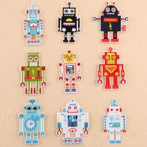 1 lote ROBOTS parches bordados coser hierro en apliques de dibujos animados encantador ROBOT insignia ropa parche para chaquetas Jeans bolsa de ropa