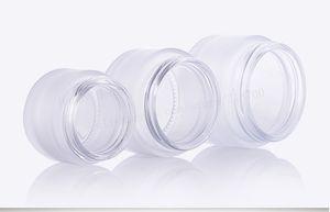 360 neue Ankunfts-x 15g 30g 50g Transparent Frost Glas Make Up Creme Jar Pot Behälter mit UV-glänzendes Silber Kappe und weißen Pad