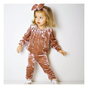 Toddler Baby Clothes Baby Girl Boy 3 Pieces Sets Velvet Set Long Sleeve T-Shirt + Elastic Long Pants+ Headband Newborn Clothing