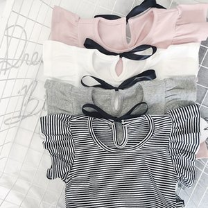 EnkeliBB Toddler Girl Summer Causal T Shirt Ruffle T-shirt For Girls Lovely Baby Pink White Gray Striped Basic Tees Quality Tops Y200704