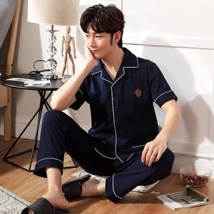 Men pajamas Set casual cardigan lapel short-sleeved trousers cotton pajamas young and middle-aged cotton home service L-3L