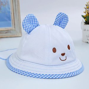 Rabbit Ear Printed Bucket Hats For Baby Girls Outdoor Fishing Sun Caps Women Girls Cute Pink And Blue