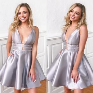 Trendy Silver short Homecoming Dresses Deep V Neck Satin Backless Mini cocktail Party Dress 2020 Graduation Dress