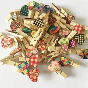 50Pcs Heart Wooden Cipps Clothes Card Photo Paper Peg Pin Clothespin