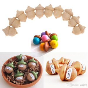 10PCS lot Wood Acorns Unfinished DIY Acorns Wedding Supplies Fall Decor Educational Counting Handmade Painting Materials Wood Craft