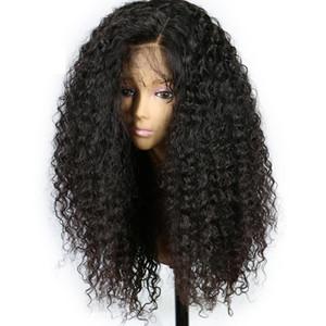 Naturale nero riccio crespo parrucca anteriore del merletto con il bambino Capelli termoresistente fibra sintetica parrucca nera per le donne