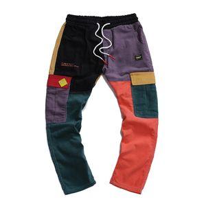 Corduroy Mens Harem pantaloni moda colorata High Street Style Mens Jogger pantaloni pantaloni danza hip hop per i giovani