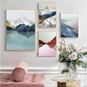 Mountain Lake Abstract New China Paisagem parede arte decoração venda quente popular poster 66556