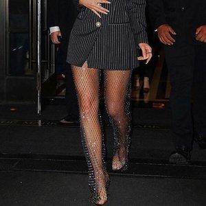 Pantaloni a vita alta Sparkle sexy di cristallo Flash diamante Mesh scava fuori vedere attraverso pantaloni Donne Bar Nightclub DJ Discoteca partito T200606
