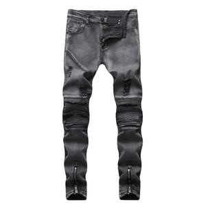 Snow Bound Feet Тонкие отверстия Pop2019 внешней торговли Приграничное Муж Европейский Мужские локомотивных Сложите джинсы