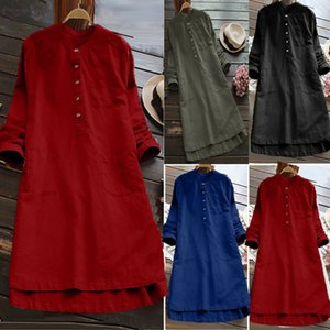 Spring Dress Women Long Sleeve Loose Casual Button Tops Blouse Shirt Dress Fashion Vintage Loose Dress Vestidos 3