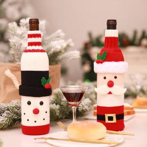 Bottiglia di vino rosso di Natale Borsa elastico lavorato a maglia in poliestere Decorazioni di Natale di vino Bottiglie Borse Cartoon Santa Bottiglie bagagli Bag BH0222 TQQ