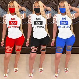 Les femmes d'été Survêtement faire de l'argent non amis lettre Ondulé Trous 2pcs Vêtements Set T-shirt + Biker Shorts Designer Outfit Sweatsuit D61511
