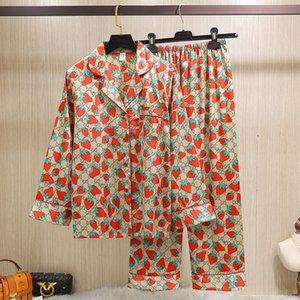 2020 Sonbahar G Harf Kadınlar Çilek Baskılı Pijama Saten İpek Yaka Turn-down pijamalar Kadın Yaz Uzun Pantolon 2 Adet Setleri Tops
