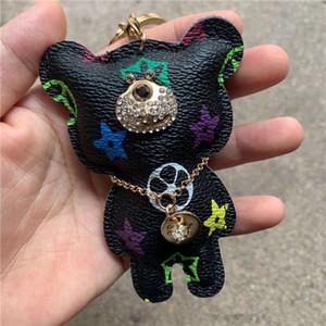 Cuero del diseñador de moda teléfono colgante oso bolsa de muñeca llavero celular correas encantos Pareja regalo Tide Marca Bolsa Accesorios creativa sin la caja
